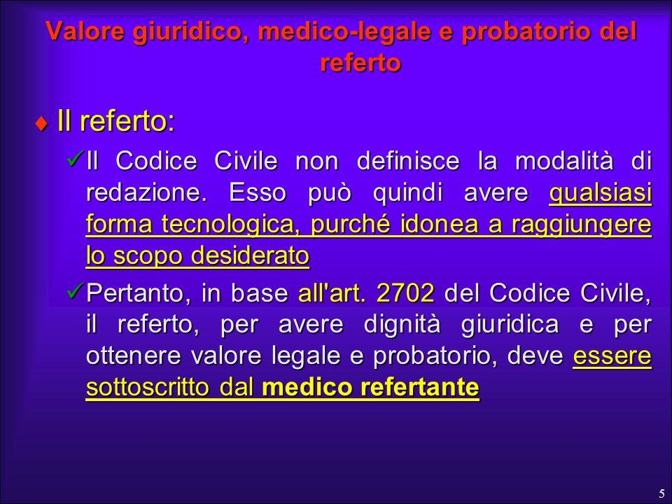 Valore giuridico, medico-legale e probatorio del referto