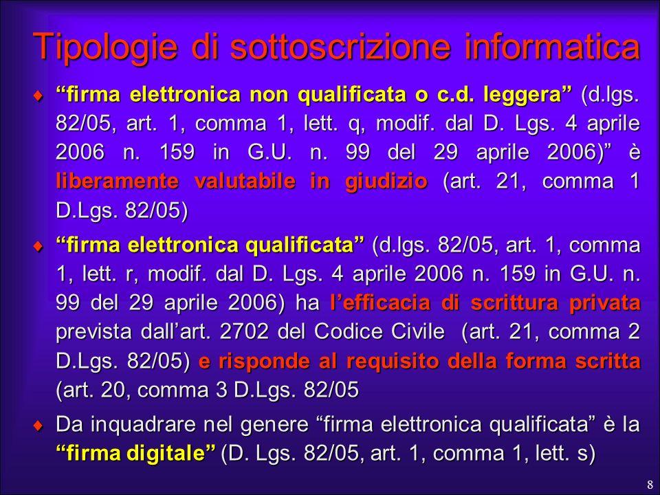 Tipologie di sottoscrizione informatica