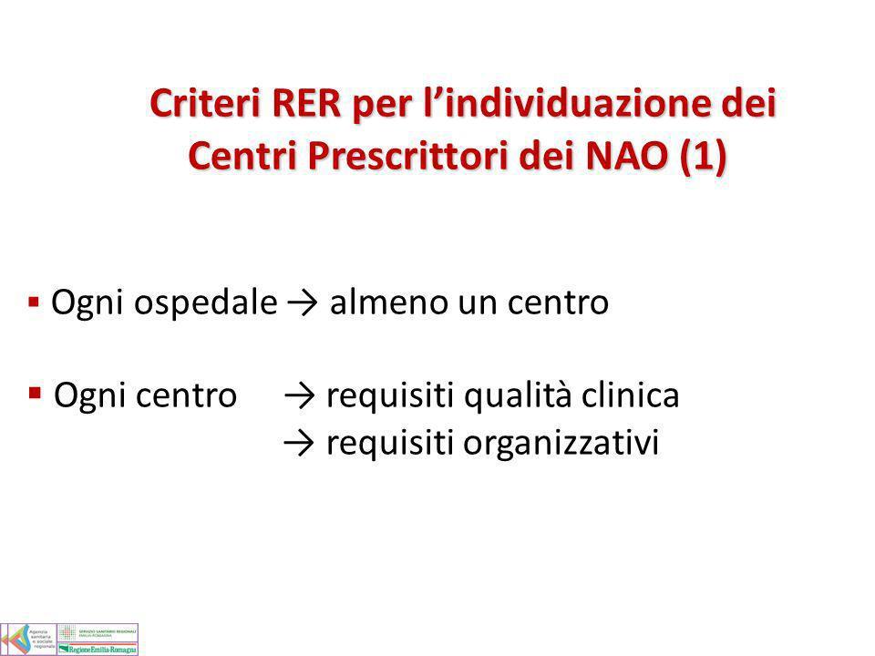 Criteri RER per l'individuazione dei Centri Prescrittori dei NAO (1)
