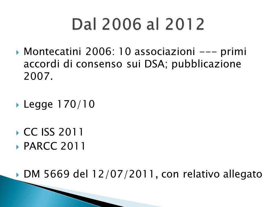 Dal 2006 al 2012 Montecatini 2006: 10 associazioni --- primi accordi di consenso sui DSA; pubblicazione 2007.
