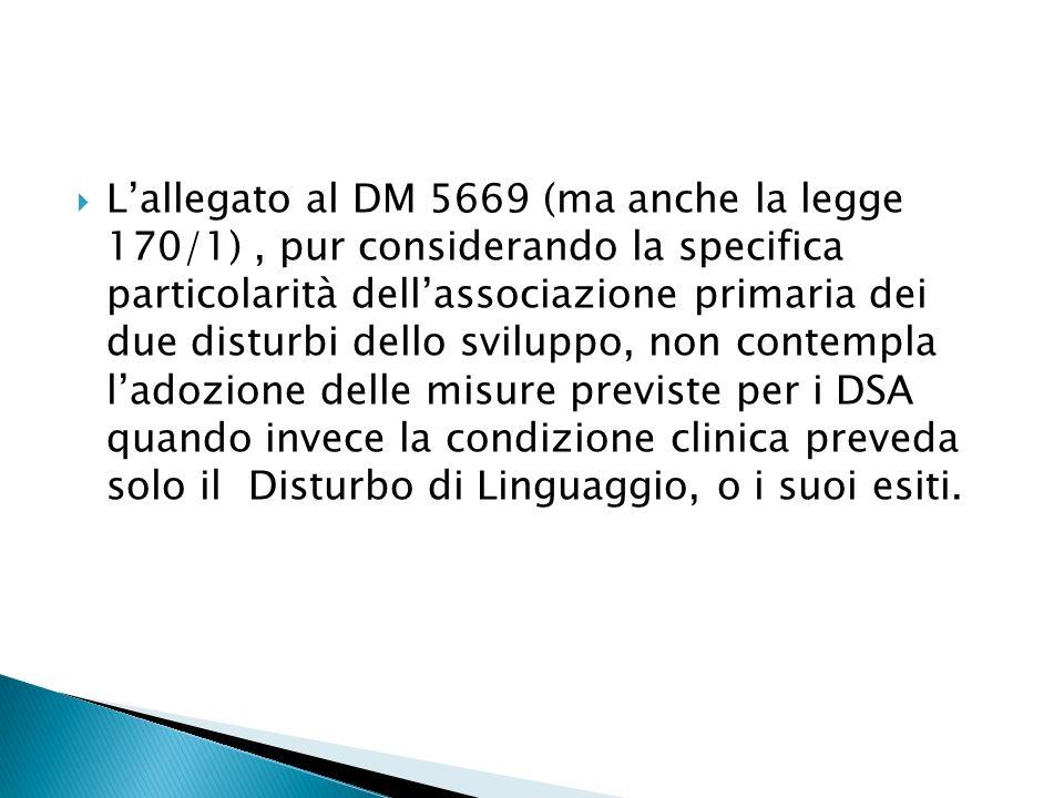 L'allegato al DM 5669 (ma anche la legge 170/1) , pur considerando la specifica particolarità dell'associazione primaria dei due disturbi dello sviluppo, non contempla l'adozione delle misure previste per i DSA quando invece la condizione clinica preveda solo il Disturbo di Linguaggio, o i suoi esiti.