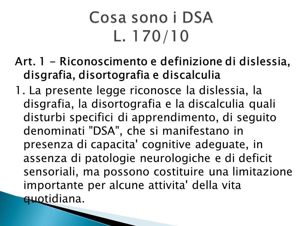 Cosa sono i DSA L. 170/10