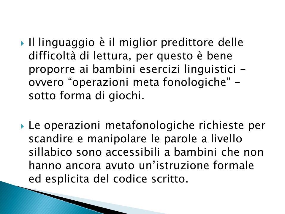 Il linguaggio è il miglior predittore delle difficoltà di lettura, per questo è bene proporre ai bambini esercizi linguistici - ovvero operazioni meta fonologiche - sotto forma di giochi.