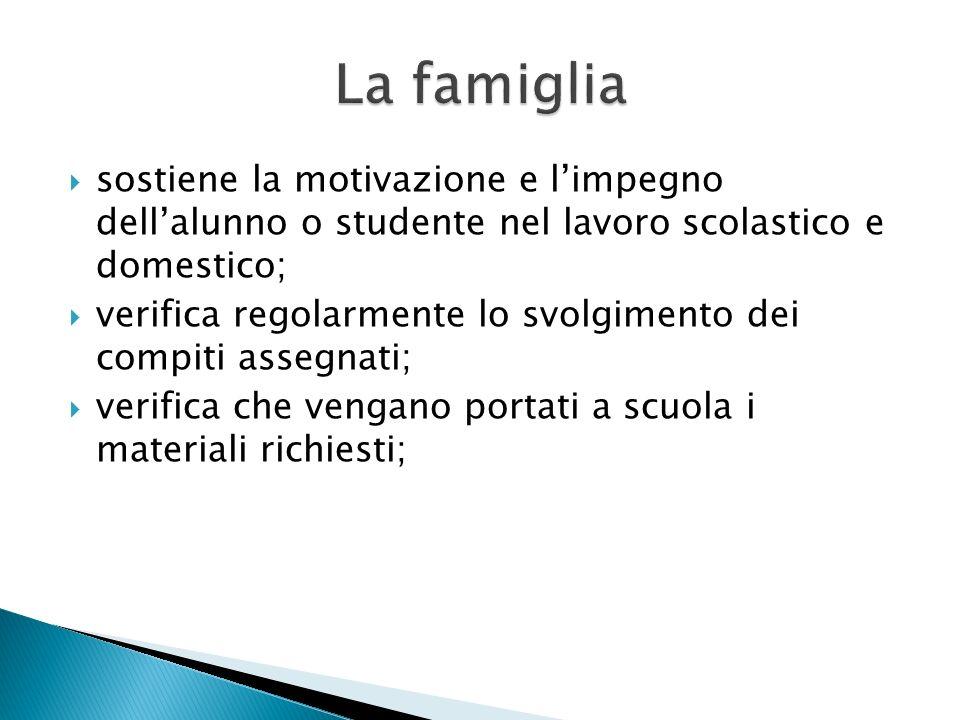La famiglia sostiene la motivazione e l'impegno dell'alunno o studente nel lavoro scolastico e domestico;