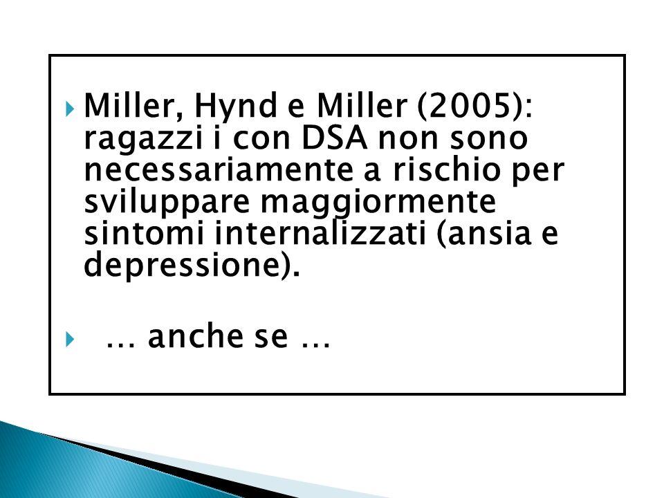 Miller, Hynd e Miller (2005): ragazzi i con DSA non sono necessariamente a rischio per sviluppare maggiormente sintomi internalizzati (ansia e depressione).