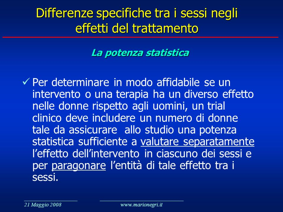 Differenze specifiche tra i sessi negli effetti del trattamento