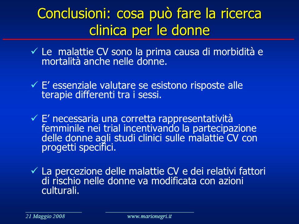 Conclusioni: cosa può fare la ricerca clinica per le donne