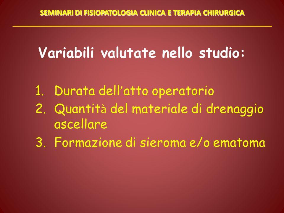 Variabili valutate nello studio: