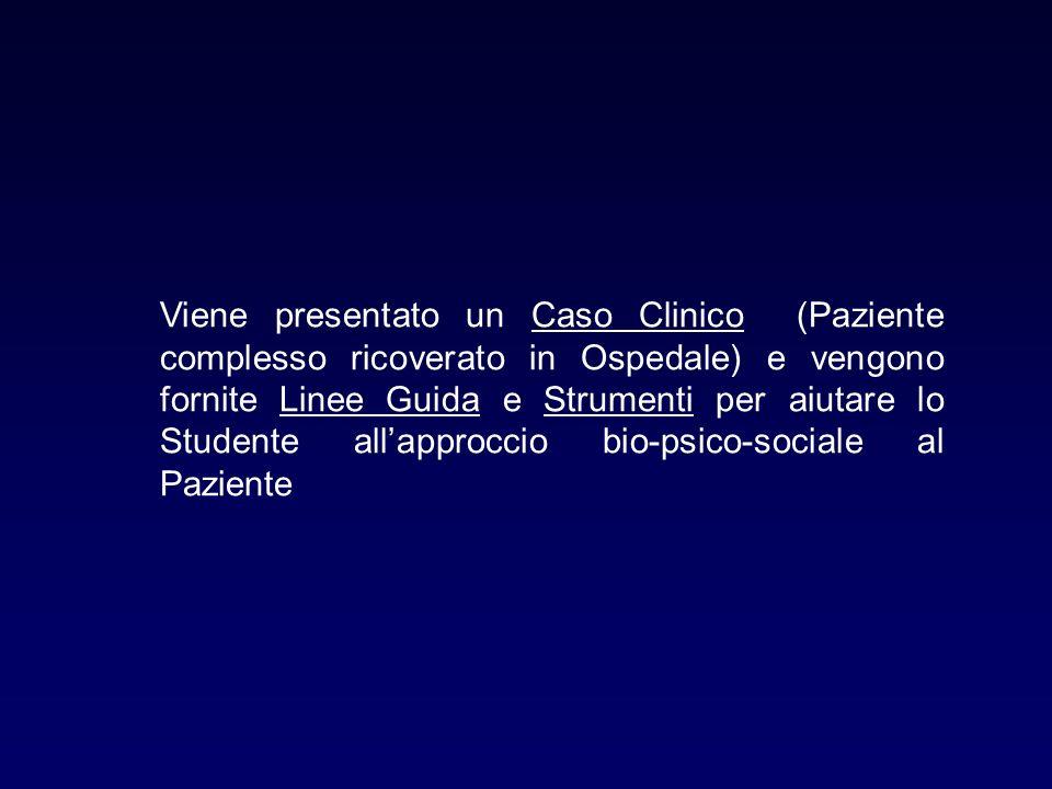 Viene presentato un Caso Clinico (Paziente complesso ricoverato in Ospedale) e vengono fornite Linee Guida e Strumenti per aiutare lo Studente all'approccio bio-psico-sociale al Paziente