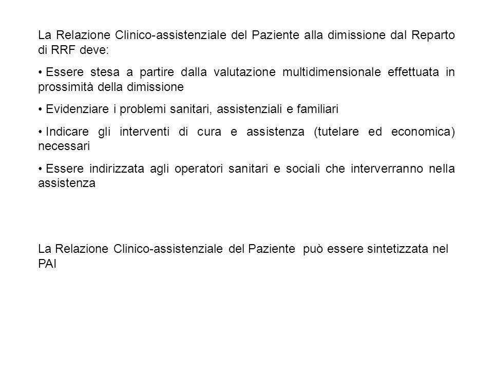 La Relazione Clinico-assistenziale del Paziente alla dimissione dal Reparto di RRF deve: