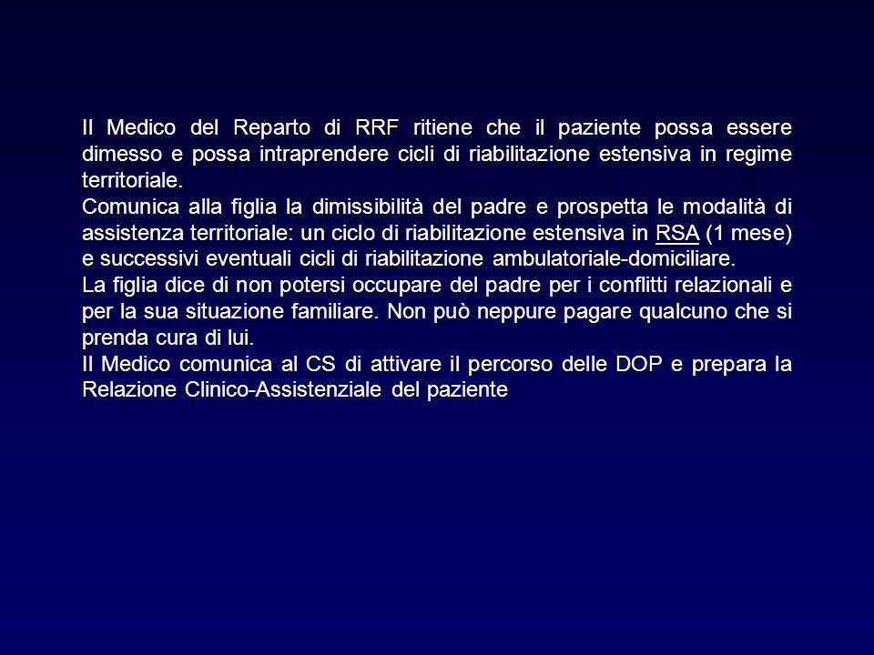 Il Medico del Reparto di RRF ritiene che il paziente possa essere dimesso e possa intraprendere cicli di riabilitazione estensiva in regime territoriale.
