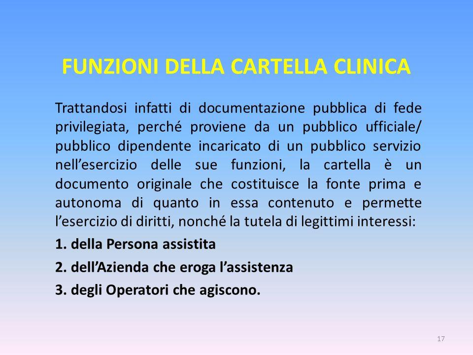 FUNZIONI DELLA CARTELLA CLINICA