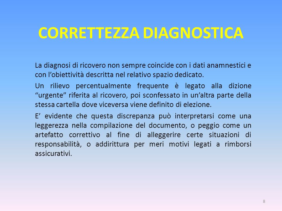CORRETTEZZA DIAGNOSTICA