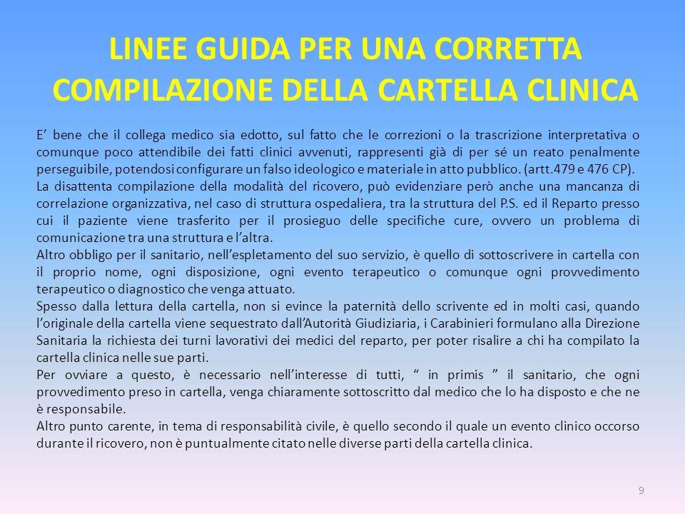 LINEE GUIDA PER UNA CORRETTA COMPILAZIONE DELLA CARTELLA CLINICA