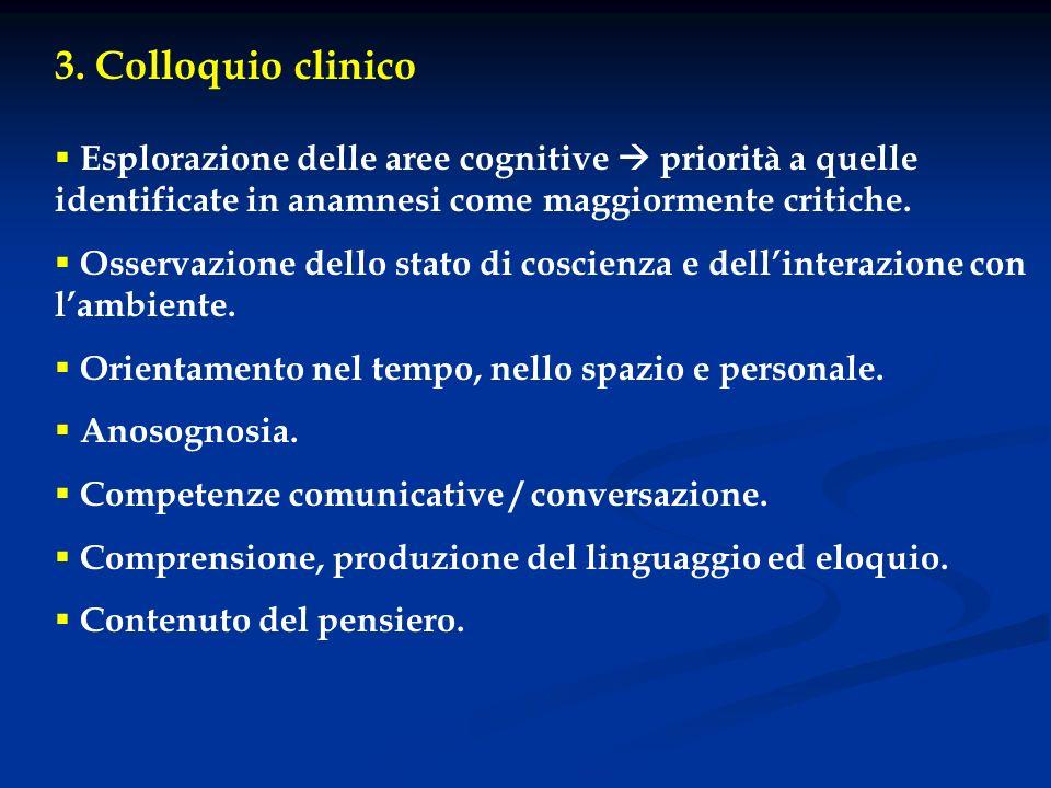 3. Colloquio clinico Esplorazione delle aree cognitive  priorità a quelle identificate in anamnesi come maggiormente critiche.