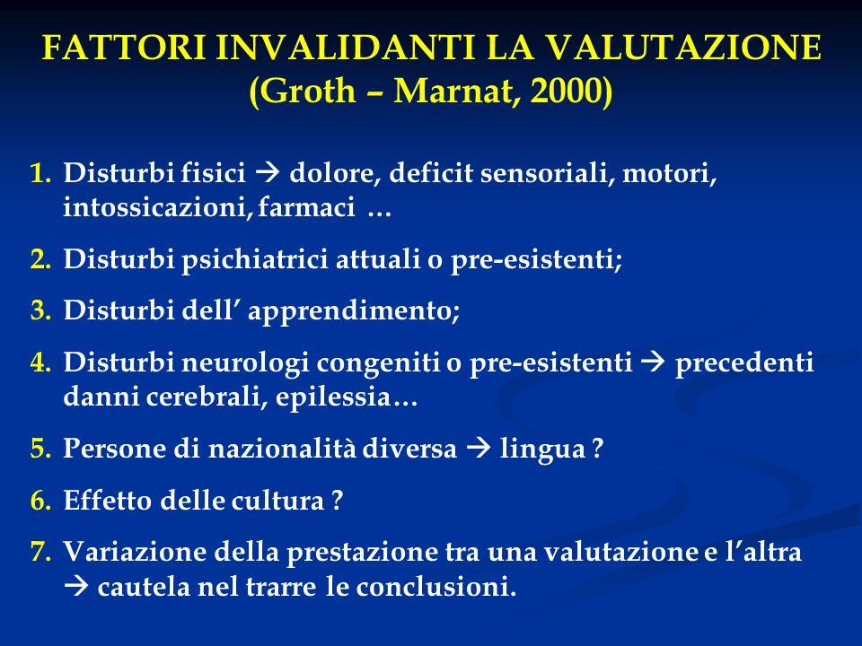 FATTORI INVALIDANTI LA VALUTAZIONE (Groth – Marnat, 2000)