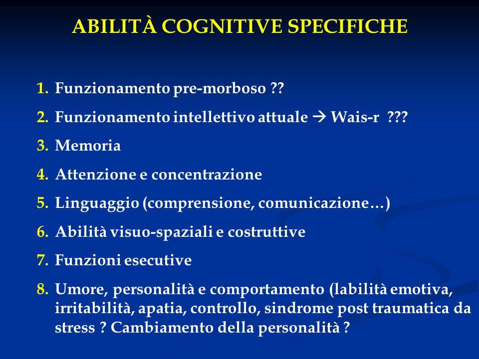ABILITÀ COGNITIVE SPECIFICHE