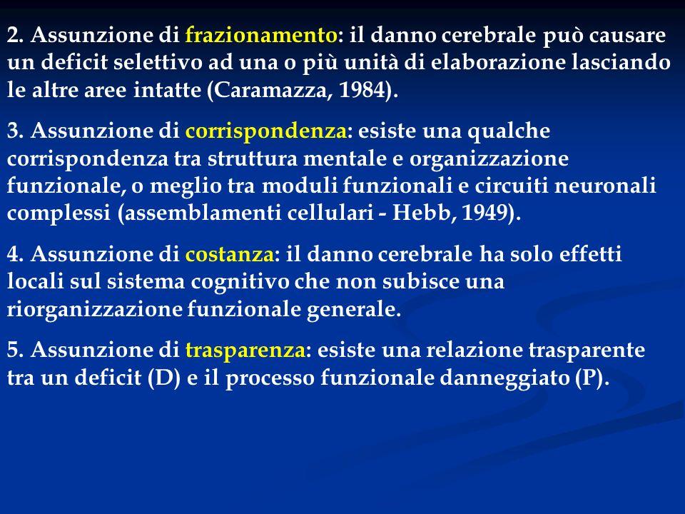2. Assunzione di frazionamento: il danno cerebrale può causare un deficit selettivo ad una o più unità di elaborazione lasciando le altre aree intatte (Caramazza, 1984).