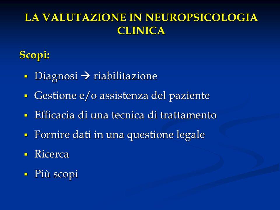 LA VALUTAZIONE IN NEUROPSICOLOGIA CLINICA