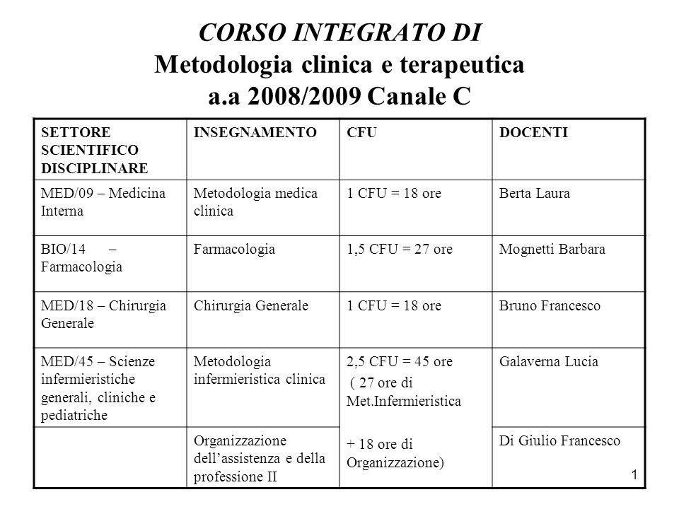 CORSO INTEGRATO DI Metodologia clinica e terapeutica a