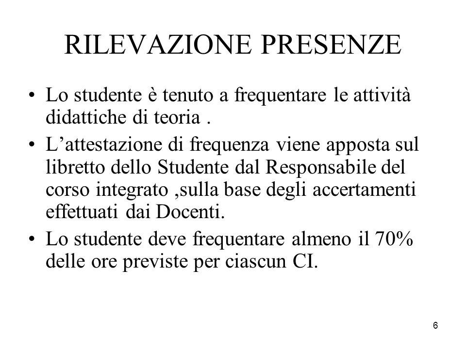 RILEVAZIONE PRESENZE Lo studente è tenuto a frequentare le attività didattiche di teoria .