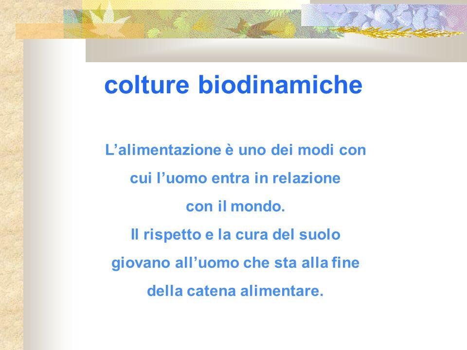 colture biodinamiche L'alimentazione è uno dei modi con