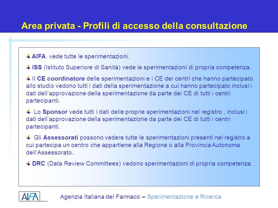 Area privata - Profili di accesso della consultazione
