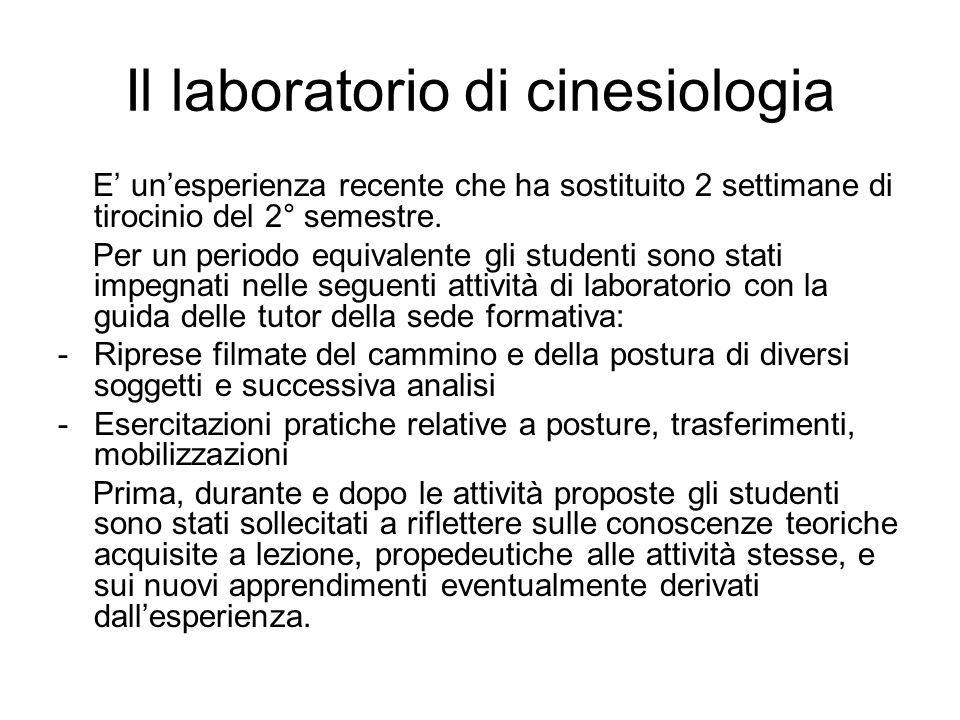 Il laboratorio di cinesiologia