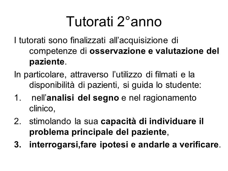 Tutorati 2°anno I tutorati sono finalizzati all'acquisizione di competenze di osservazione e valutazione del paziente.