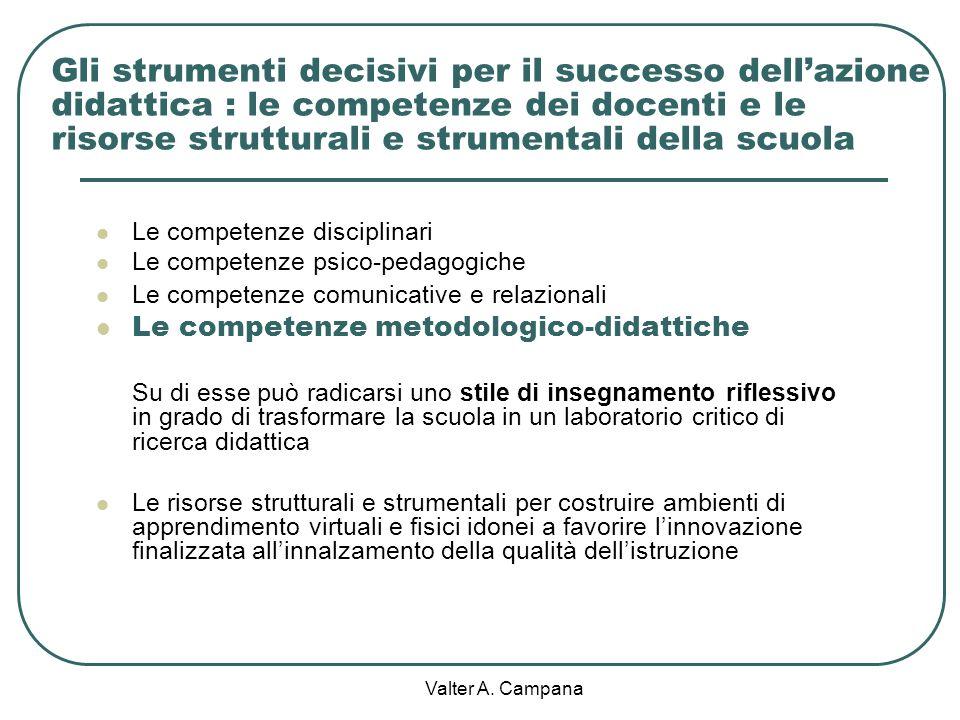 Gli strumenti decisivi per il successo dell'azione didattica : le competenze dei docenti e le risorse strutturali e strumentali della scuola