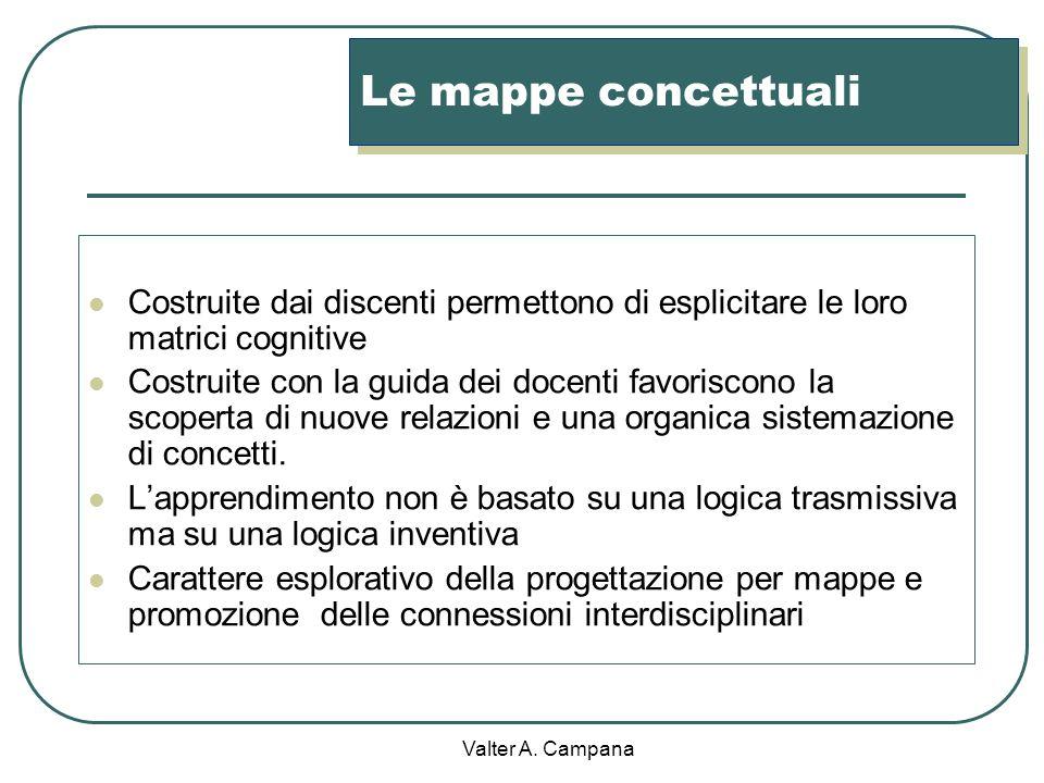 Le mappe concettuali Costruite dai discenti permettono di esplicitare le loro matrici cognitive.