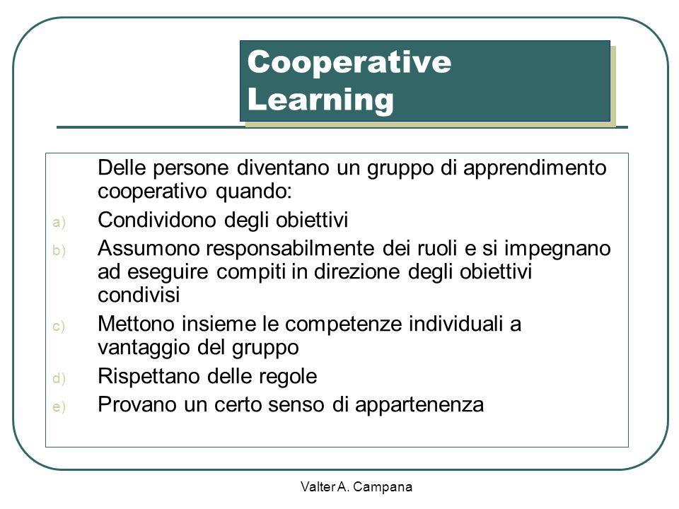 Cooperative Learning Delle persone diventano un gruppo di apprendimento cooperativo quando: Condividono degli obiettivi.