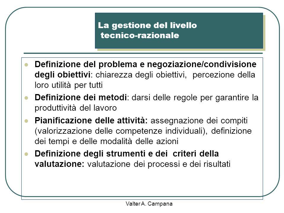 La gestione del livello tecnico-razionale