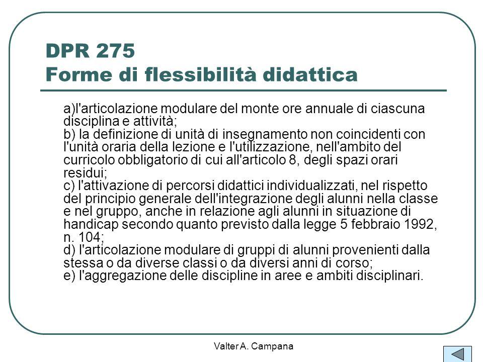 DPR 275 Forme di flessibilità didattica