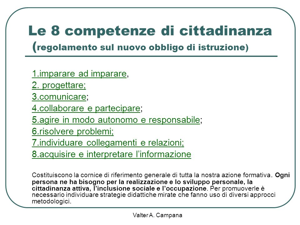Le 8 competenze di cittadinanza (regolamento sul nuovo obbligo di istruzione)