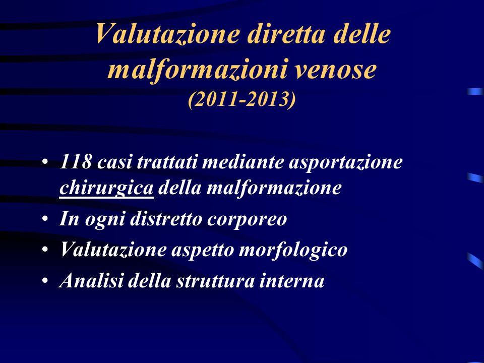 Valutazione diretta delle malformazioni venose (2011-2013)