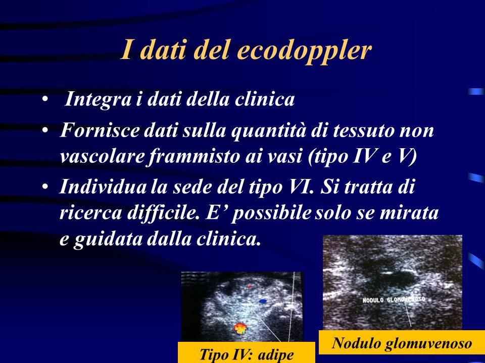 I dati del ecodoppler Integra i dati della clinica
