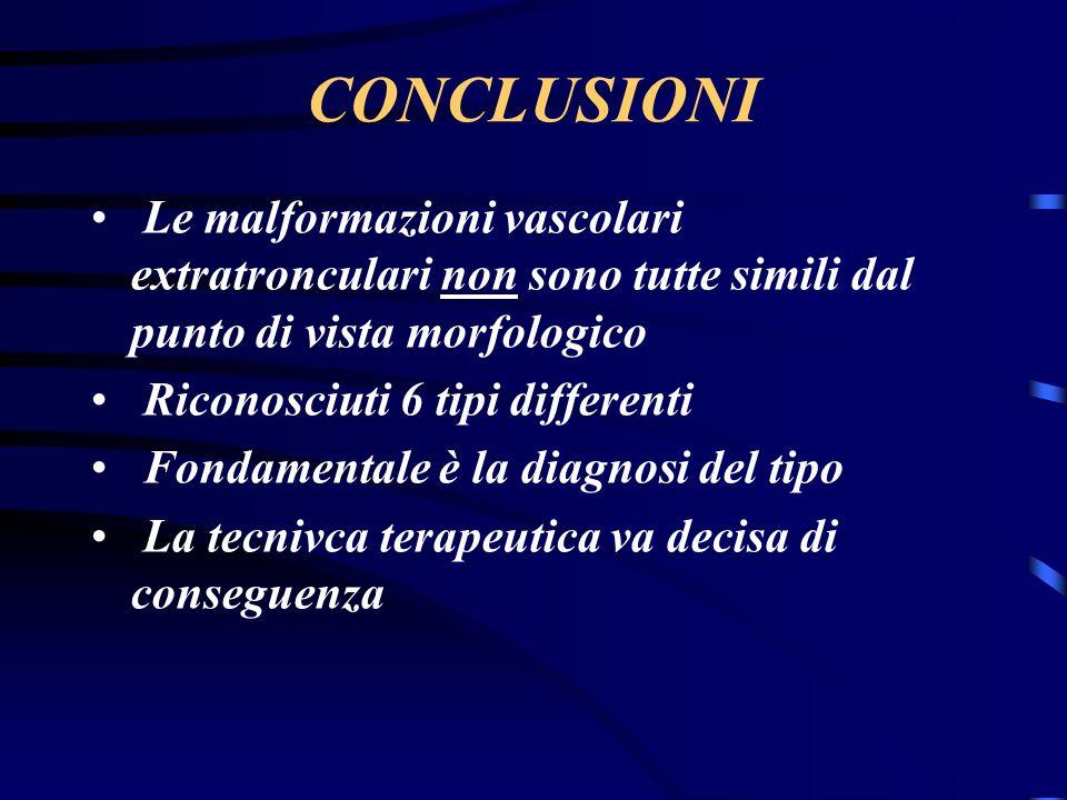 CONCLUSIONI Le malformazioni vascolari extratronculari non sono tutte simili dal punto di vista morfologico.
