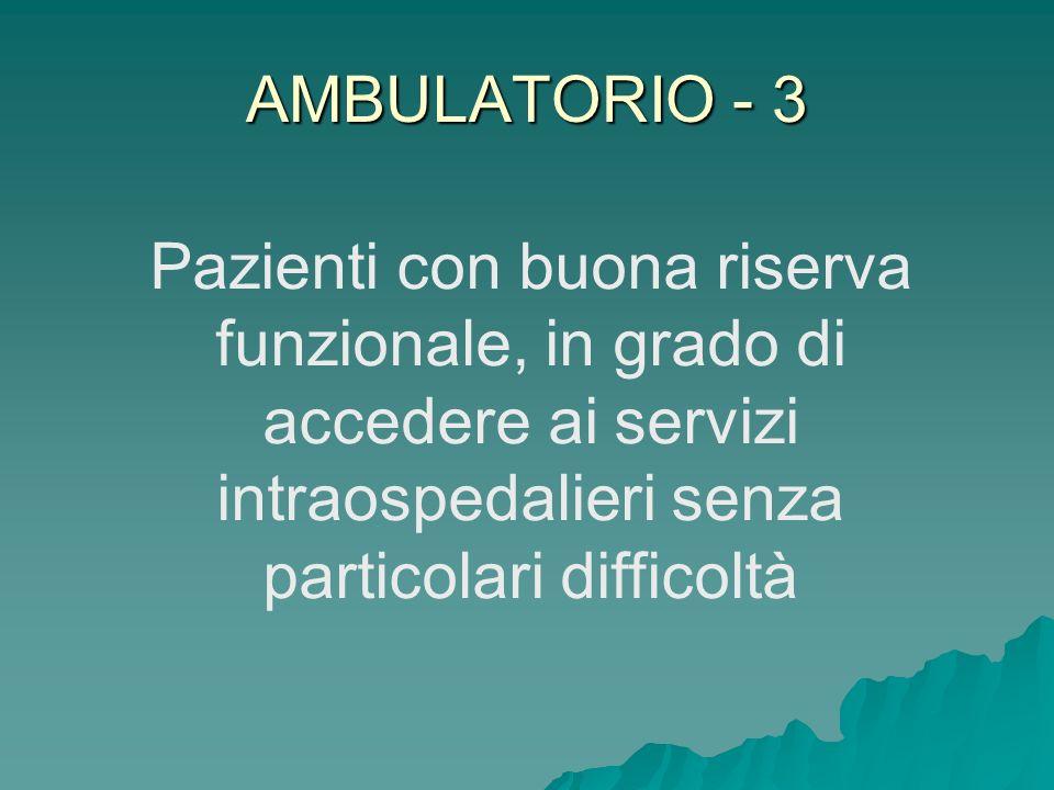 AMBULATORIO - 3 Pazienti con buona riserva funzionale, in grado di accedere ai servizi intraospedalieri senza particolari difficoltà.
