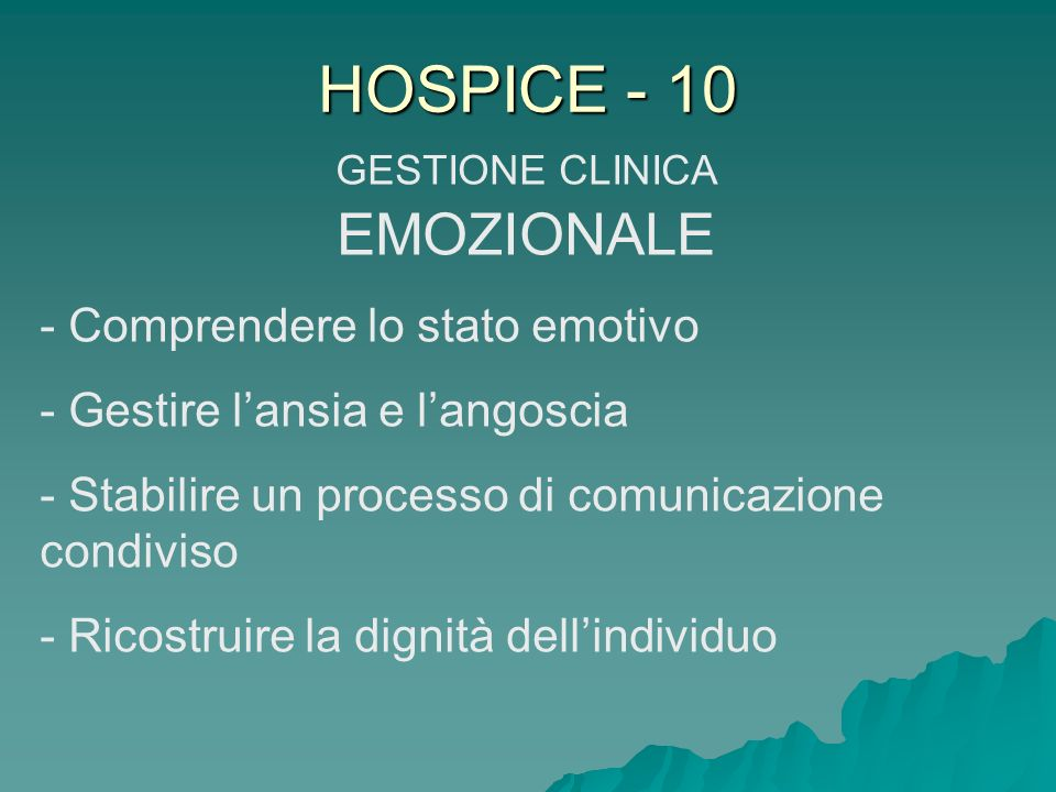 GESTIONE CLINICA EMOZIONALE