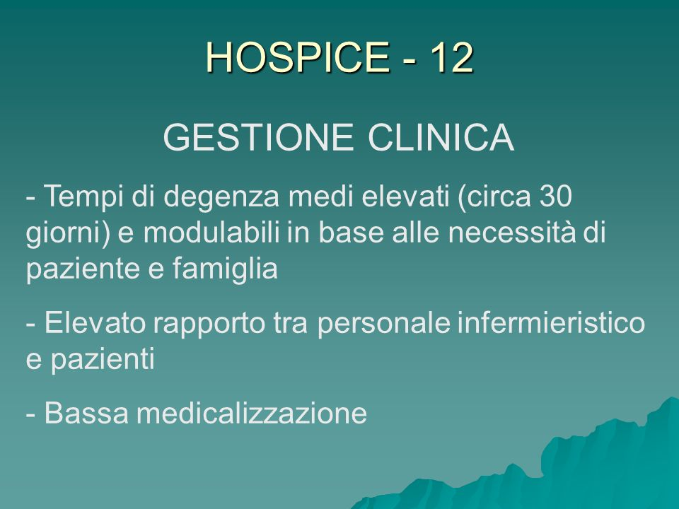 HOSPICE - 12 GESTIONE CLINICA