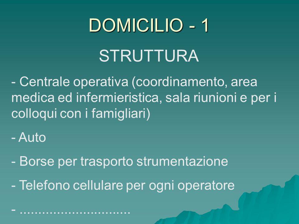 DOMICILIO - 1 STRUTTURA. Centrale operativa (coordinamento, area medica ed infermieristica, sala riunioni e per i colloqui con i famigliari)