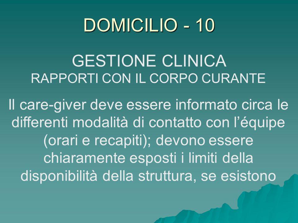 GESTIONE CLINICA RAPPORTI CON IL CORPO CURANTE