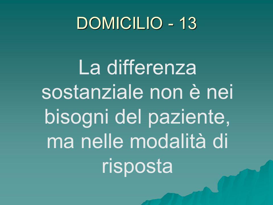 DOMICILIO - 13 La differenza sostanziale non è nei bisogni del paziente, ma nelle modalità di risposta.