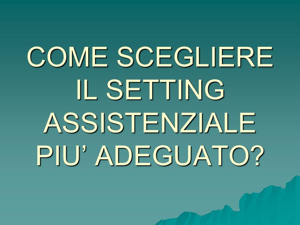 COME SCEGLIERE IL SETTING ASSISTENZIALE PIU' ADEGUATO