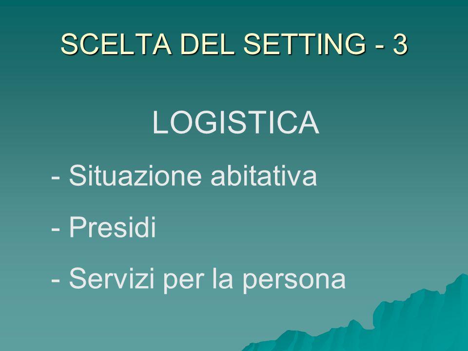 LOGISTICA SCELTA DEL SETTING - 3 Situazione abitativa Presidi