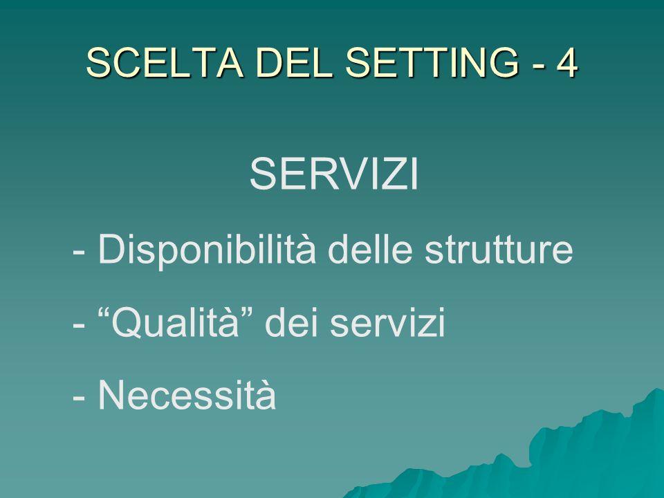 SERVIZI SCELTA DEL SETTING - 4 Disponibilità delle strutture