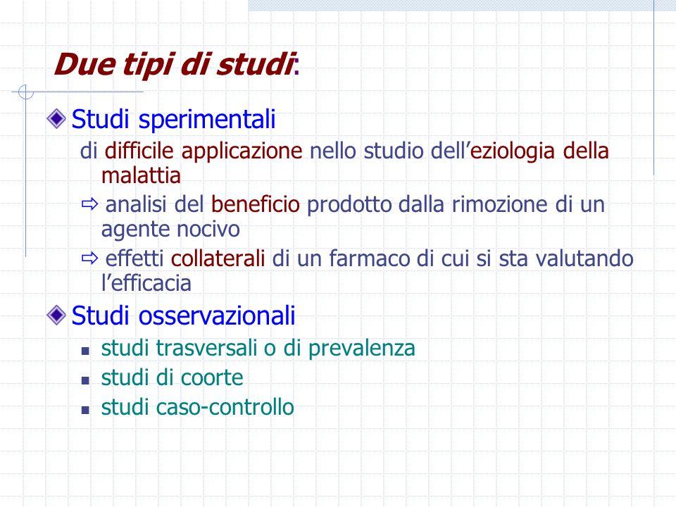 Due tipi di studi: Studi sperimentali Studi osservazionali