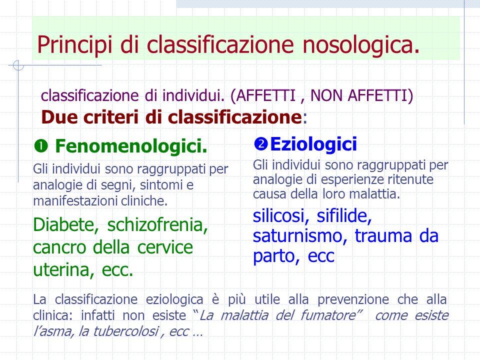 Principi di classificazione nosologica.
