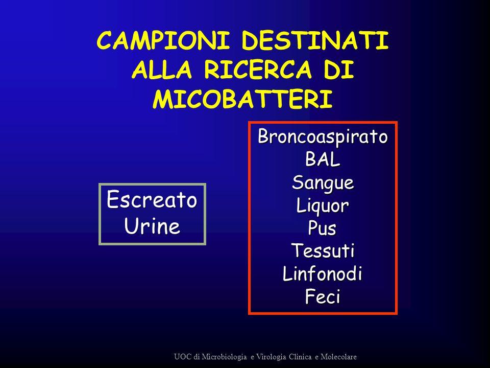 CAMPIONI DESTINATI ALLA RICERCA DI MICOBATTERI